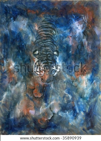 Funky & Modern Multicolored Oil painting on Canvas, Tiger in blue colors. I, the Artist, owns the copyright. - stock photo
