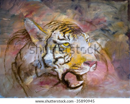 Funky & Modern Multicolored Oil painting on Canvas, Tiger in orange and red colors. I, the Artist, owns the copyright.