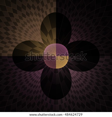 Funky orange and purple abstract checkered disc / flower design on black background