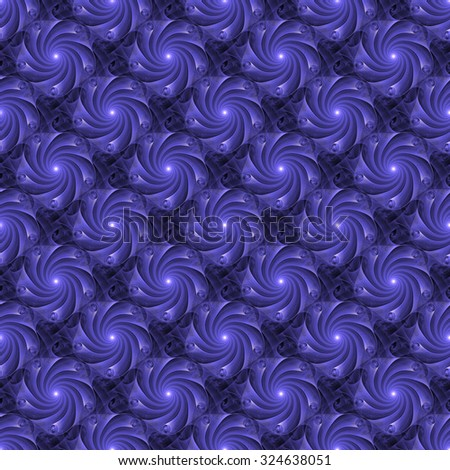 Funky purple abstract rotating flower design on black background (tile able)  - stock photo