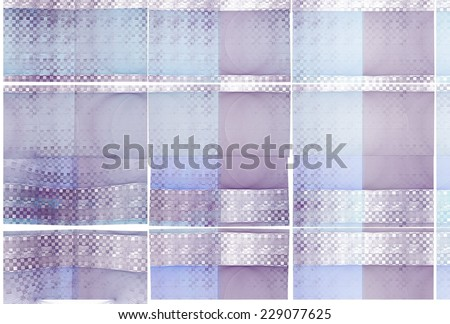Funky purple, blue and green checkered string design on white background  - stock photo