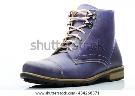 funky purple men leather boot on white background
