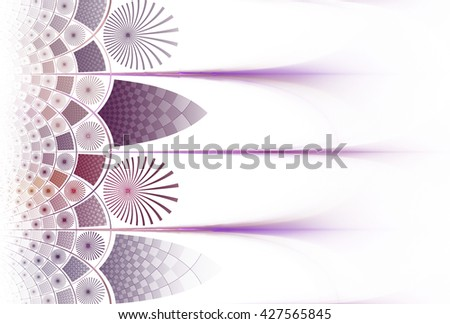 Funky purple, pink and orange abstract checkered / flower design on white background