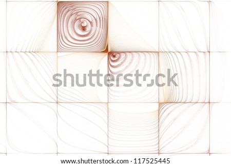 Funky red and orange ripple tile on white background - stock photo