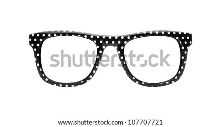 Funky retro dotted glasses isolated on white background