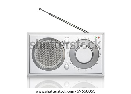 Funky Retro Radio with Mirror Effect Isolated on White - stock photo