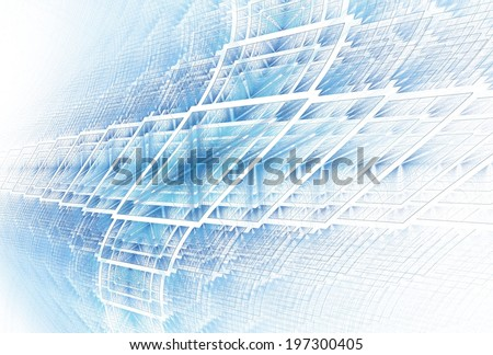 Funky silver / blue textured cross pattern on white background (3D perspective) - stock photo