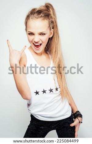 Funky teenage girl - stock photo