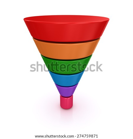 Funnel chart. 3d render and computer generated image. isolated on white. - stock photo