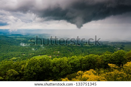 Funnel cloud and rainstorm over the Shenandoah Valley, seen from Skyline Drive in Shenandoah National Park, VA.