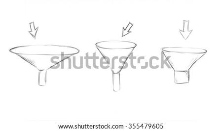 Funnel marketing hand drawn illustration - stock photo