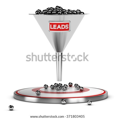 funnel with many metallic spheres and one target over white background. Illustration concept of sales lead nurturing - stock photo
