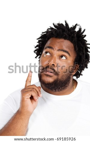 funny african american man daydreaming - stock photo
