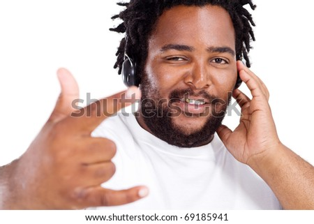 funny african american man listening to music - stock photo