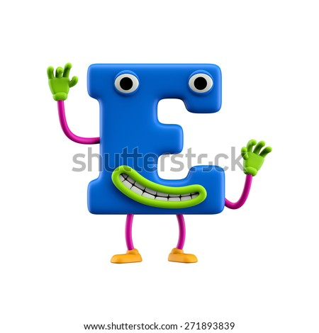 Funny alphabet character. Letter E. Isolated on white background. - stock photo
