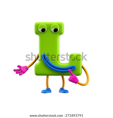 Funny alphabet character. Letter L. Isolated on white background. - stock photo