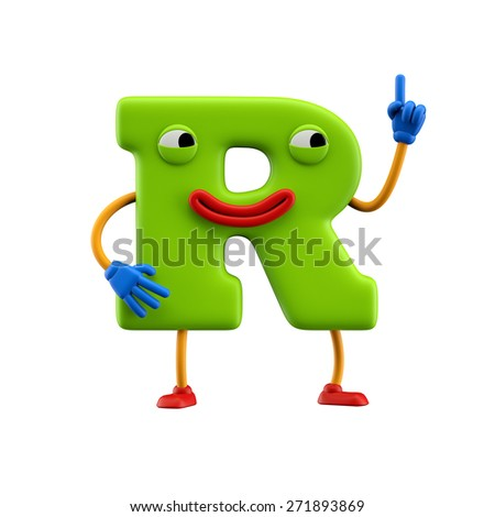 Funny alphabet character. Letter R. Isolated on white background. - stock photo