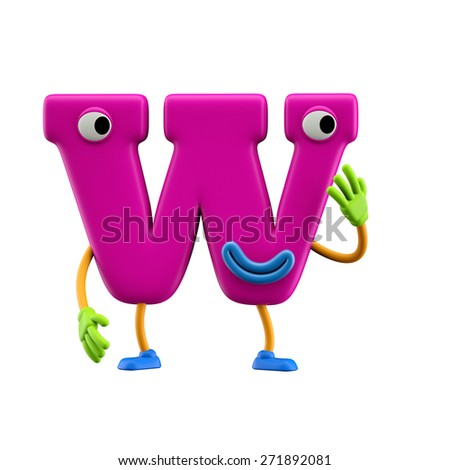 Funny alphabet character. Letter W. Isolated on white background. - stock photo