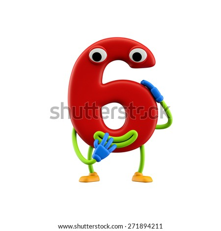 Funny alphabet character. Number 6 . Isolated on white background. - stock photo