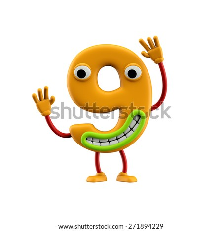 Funny alphabet character. Number 9 Isolated on white background. - stock photo
