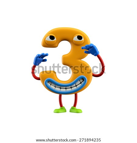 Funny alphabet character. Number 3. Isolated on white background. - stock photo