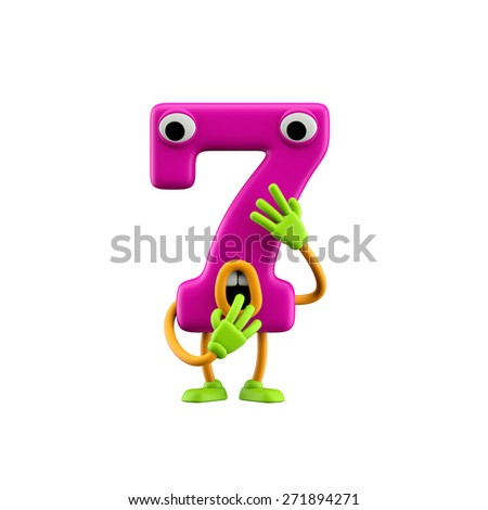 Funny alphabet character. Number 7 . Isolated on white background. - stock photo