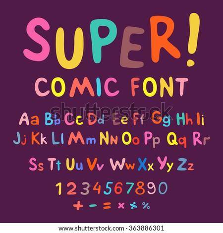 Funny alphabet isolated cute illustration cartoon font symbol abc - stock photo
