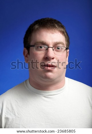 Funny american man in white tee shirt - stock photo