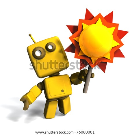 Funny and Bright Yellow robot with sun 3D illustration; isolated on white background - stock photo