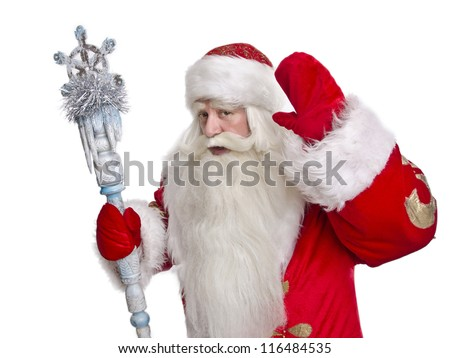 Funny and cheerful Santa Claus greetings on a white background