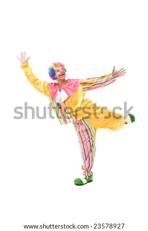 Funny and colorful clown making a face on white - stock photo