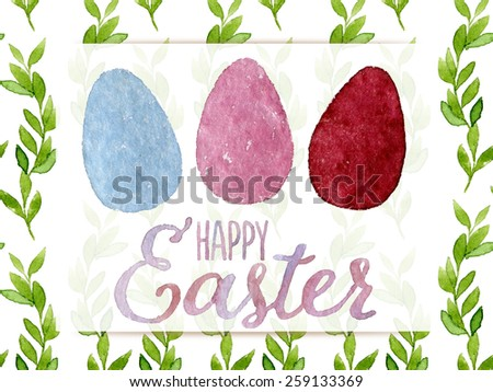 Funny and cute Easter greeting card hand-painted with watercolor. Blue, pink and red watercolor eggs with Happy Easter words on seamless green leaves background. Real watercolor painting - stock photo