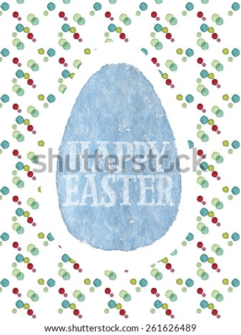 Funny and cute Easter greeting card hand-painted with watercolor. Blue watercolor egg with Happy Easter words on colorful polka-dot background. Real watercolor painting - stock photo