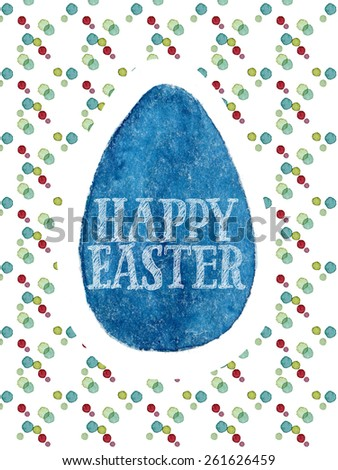 Funny and cute Easter greeting card hand-painted with watercolor. Dark blue watercolor egg with Happy Easter words on colorful polka-dot background. Real watercolor painting - stock photo