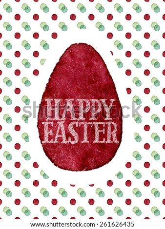 Funny and cute Easter greeting card hand-painted with watercolor. Dark red watercolor egg with Happy Easter words on colorful polka-dot background. Real watercolor painting - stock photo
