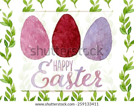 Funny and cute Easter greeting card hand-painted with watercolor. Pink, red and violet watercolor eggs with Happy Easter words on seamless green leaves background. Real watercolor painting - stock photo