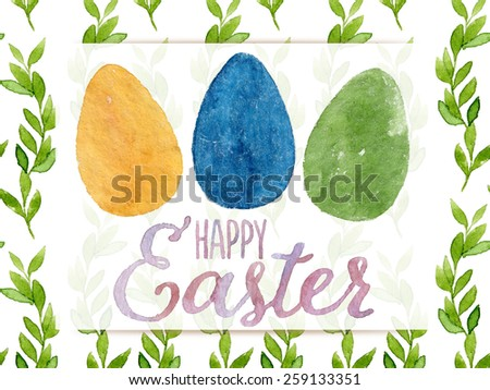 Funny and cute Easter greeting card hand-painted with watercolor. Yellow, blue and green watercolor eggs with Happy Easter words on seamless green leaves background. Real watercolor painting - stock photo