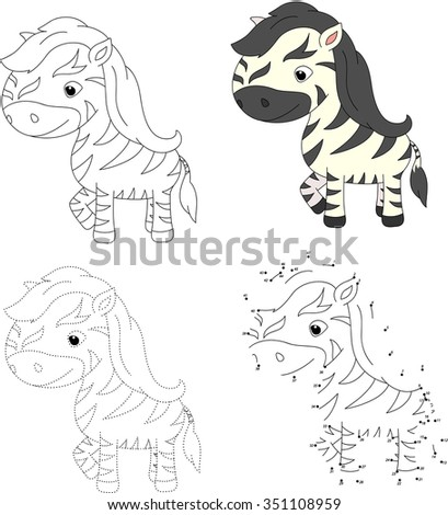 Funny and cute zebra. illustration for children. Dot to dot game
