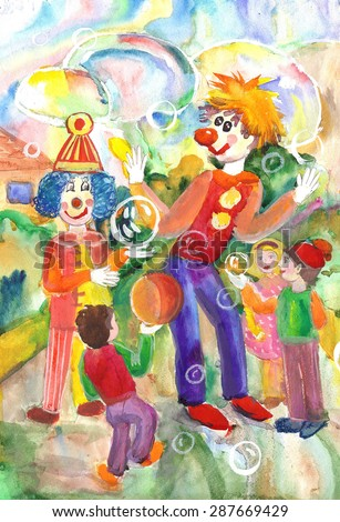 Funny and funny clowns entertained the children - hand drawing