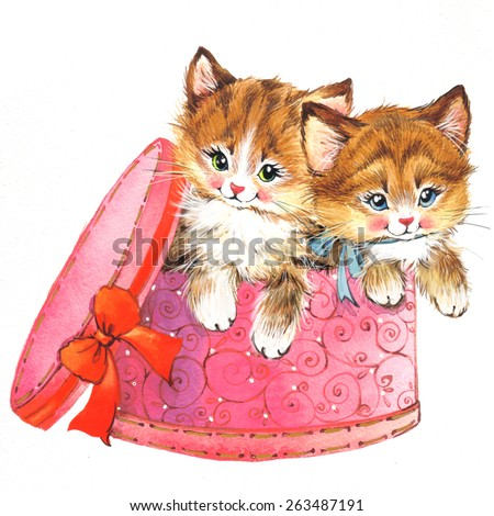 Funny animal Kitten. watercolor - stock photo