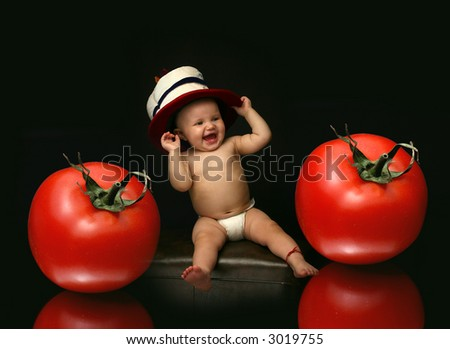 Funny Baby and Tomato