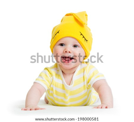 funny baby boy lying on stomach - stock photo