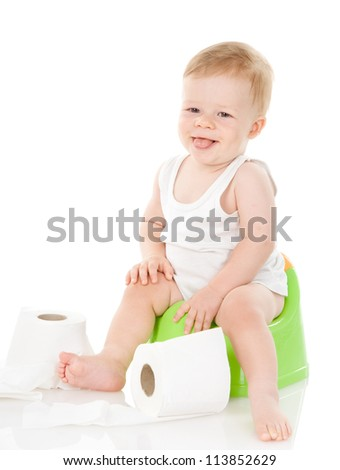 funny baby boy on chamber pot. isolated on white background - stock photo