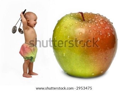 Funny Baby Chef and Apple - stock photo