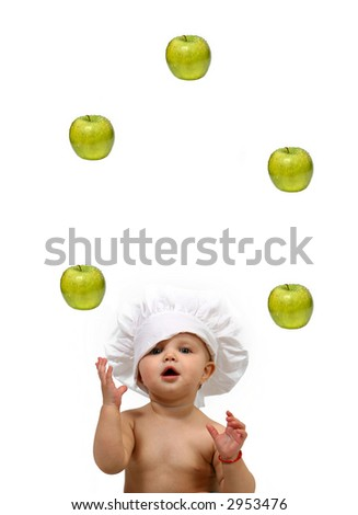 Funny Baby Chef and Apples -juggler