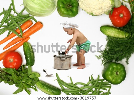 Funny Baby Chef and Vegetables - stock photo
