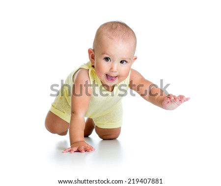 funny baby crawling - stock photo