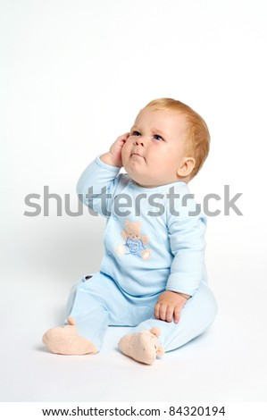 funny baby expression - stock photo