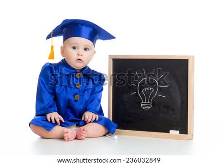 funny baby girl in academician clothes at chalkboard isolated - stock photo