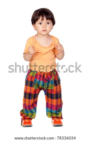Funny baby girl isolated on a over white background - stock photo